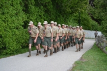 Scouts returning from flag duty.